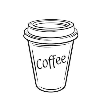 Jednorazowy kubek papierowy z konturem kawy