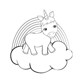 Jednorożce kreskówka kolorowanie strony książki ilustracja wektorowa, tło dzieci, kolorowanki jednorożca