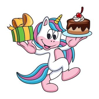 Jednorożce niosą prezenty i ciasto ze słodkim uśmiechem