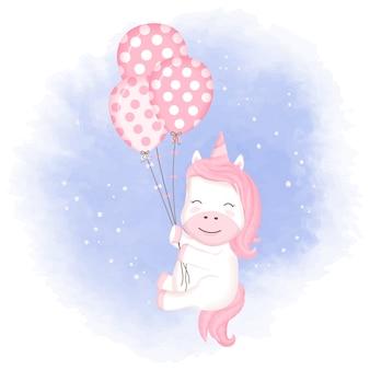 Jednorożec dziecko z ręcznie rysowane balon foka