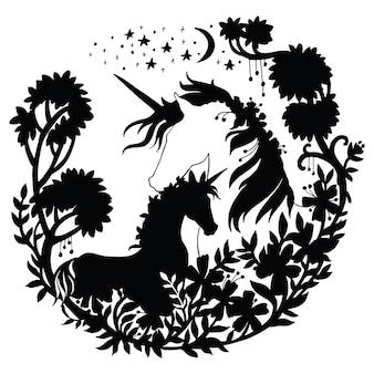 Jednorożec i źrebię z drzewami i gwiazdami w kompozycji koła. ilustracja wektorowa czarna sylwetka.