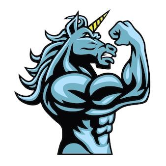 Jednorożec koń fighter maskotka wektor logo projekt znaków wektor