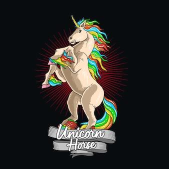 Jednorożec koń kolorowy ilustracja