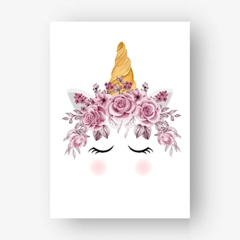 Jednorożec korona akwarela różowe kwiaty i liście