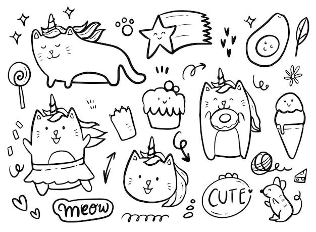 Jednorożec kot bawi się ciastem i pączkami