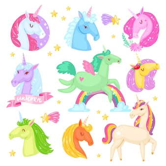 Jednorożec kreskówka żartuje dziewczęcego konia z rogiem i kolorowym kucykiem w miłości ilustraci