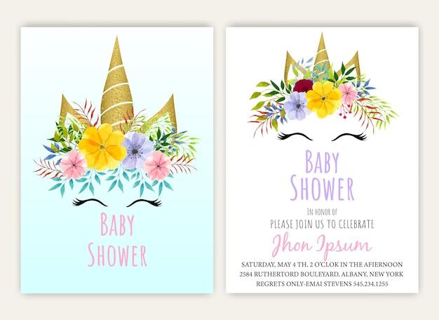 Jednorożec kwiatowy jednorożec wystrój karty baby shower.