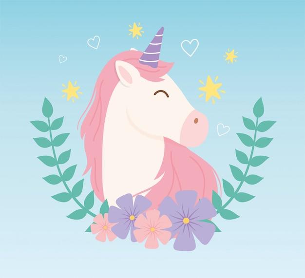 Jednorożec kwiaty gwiazdki dekoracja magiczne fantasy kreskówka słodkie zwierzę