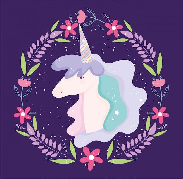 Jednorożec kwiaty wieniec fantasy magia cute cartoon