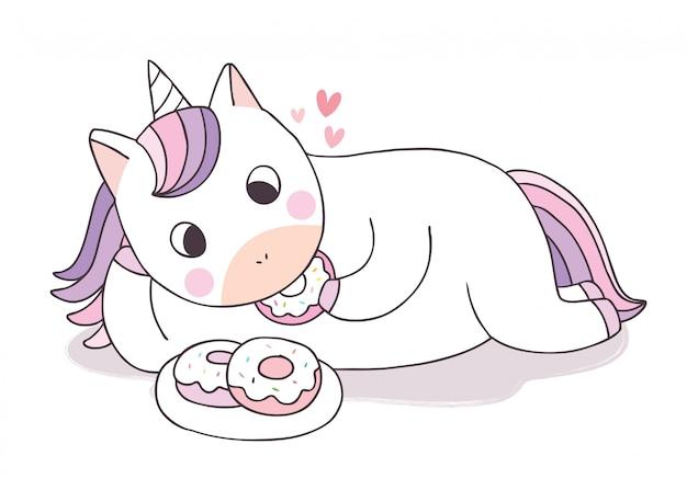 Jednorożec ładny kreskówka jedzenie słodki deser