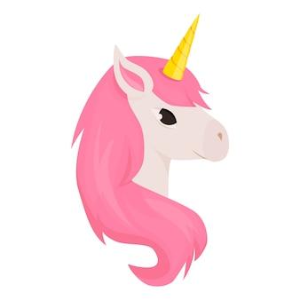 Jednorożec ładny wektor znak zwierzę ilustracja fantasy magia projekt tęcza koń piękne bajki tło. bajka słodka kreskówka magiczny jednorożec koń z rogiem.
