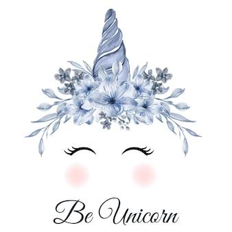 Jednorożec niebieski róg z niebieskim kwiatem akwarela ilustracja