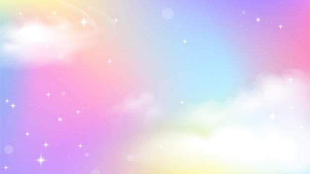 Jednorożec niebo kolorowy gradient