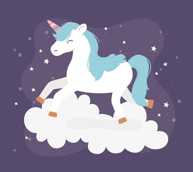 Jednorożec skakać na chmurach gwiazdy fantasy magia sen cute cartoon ciemne tło ilustracji