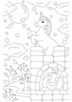 Jednorożec stoi na wysokim zamku strona do kolorowania dla dzieci motyw halloween