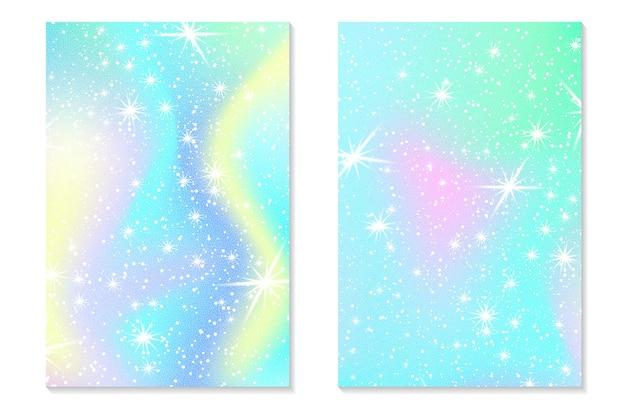Jednorożec tęcza tło. holograficzne niebo w pastelowym kolorze. jasny hologram syrenka wzór w kolorach księżniczki. ilustracja wektorowa. jednorożec fantasy kolorowe tęczowe tło gradientowe.