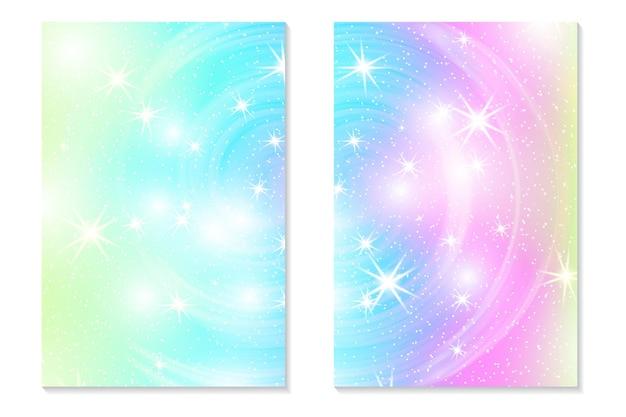 Jednorożec tęcza tło. holograficzne niebo w pastelowym kolorze. jasny hologram syrenka wzór w kolorach księżniczki. ilustracja wektorowa. jednorożec fantasy kolorowe tło gradientowe z tęczy oczek.