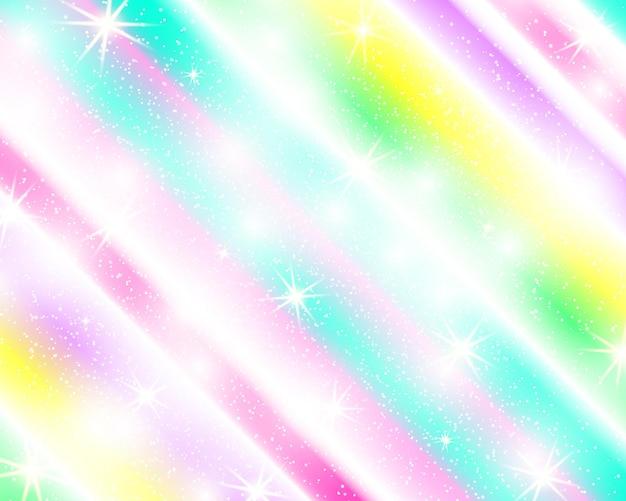 Jednorożec Tęcza Tło. Holograficzne Niebo W Pastelowym Kolorze. Jasny Wzór Syrenki W Kolorach Księżniczki. Ilustracja Wektorowa. Fantasy Kolorowe Tło Gradientowe Z Tęczy Oczek. Premium Wektorów