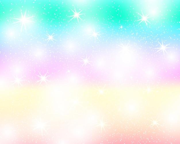 Jednorożec tęcza tło. holograficzne niebo w pastelowym kolorze. jasny wzór syrenki w kolorach księżniczki. ilustracja wektorowa. fantasy kolorowe tło gradientowe z tęczy oczek.