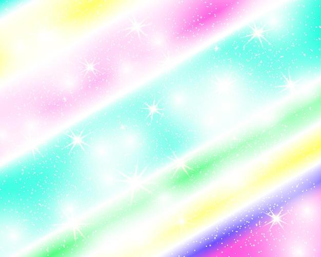 Jednorożec tęcza tło holograficzne niebo w pastelowym kolorze.