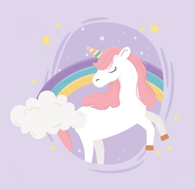 Jednorożec tęczowe chmury gwiazdy ornament fantasy magiczne marzenie kreskówka słodkie fioletowe tło ilustracji