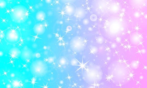 Jednorożec tęczy tło. holograficzne niebo. kolorowy wzór. .