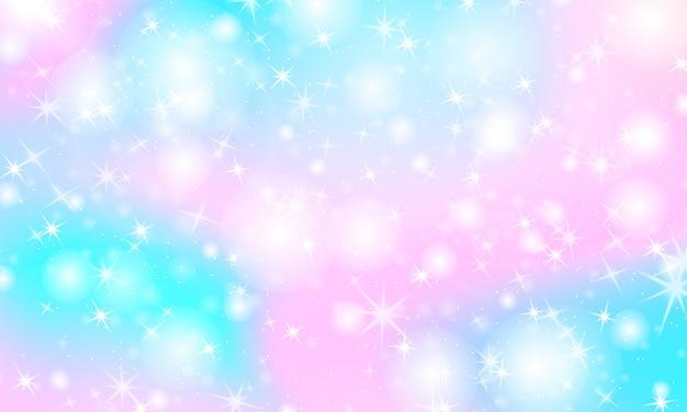 Jednorożec tęczy tło. holograficzne niebo