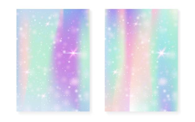 Jednorożec tło z magicznym gradientem kawaii. hologram tęczy księżniczki. zestaw wróżek holograficznych. kreatywna okładka fantasy. jednorożec tło z błyszczy i gwiazdy na zaproszenie na przyjęcie słodkie dziewczyny.