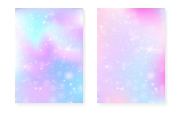 Jednorożec tło z magicznym gradientem kawaii.