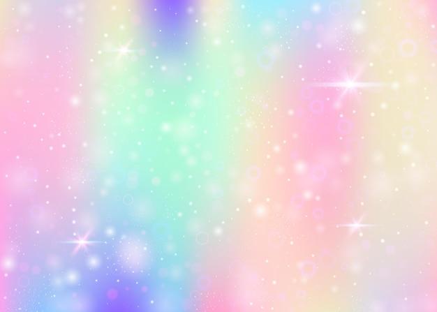 Jednorożec tło z tęczową siatką. dziewczęcy baner wszechświata w kolorach księżniczki. gradientowe tło fantasy z hologramem. tło holograficzne jednorożca z magicznymi iskierkami, gwiazdami i rozmywa.