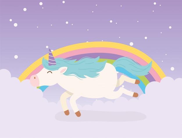 Jednorożec w chmurach niebo tęczy magiczne fantasy kreskówka słodkie zwierzę
