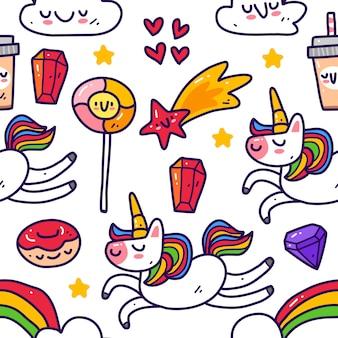 Jednorożec w doodle styl wzór