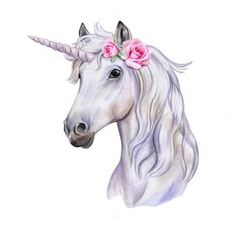 Jednorożec z wieńcem kwiatów. biały koń. portret. akwarela