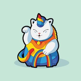 Jednorożec zabawny słodki kot kostium na halloween