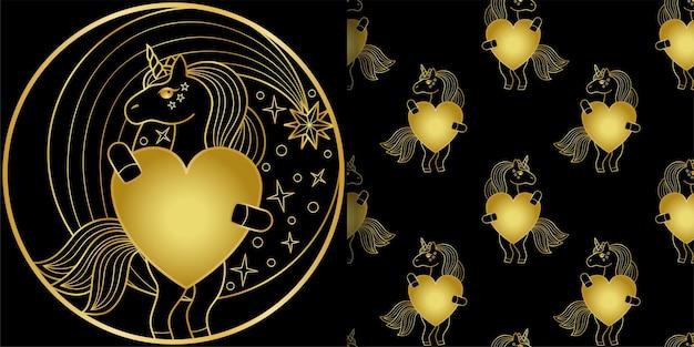 Jednorożec złoty nadruk i wzór bez szwu bajkowe zwierzęce tapety do nadruków na tekstyliach i koszulkach