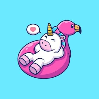 Jednorożec zrelaksuj się na oponach flamingo w uroczej pozie. kreskówka zwierząt