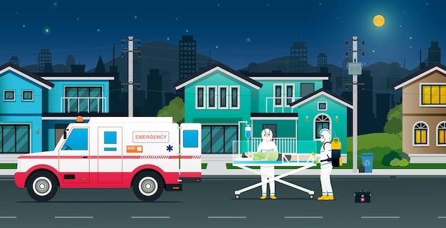 Jednostka medyczna przywiozła karetkę pogotowia, aby odebrać pacjentów z covit-19 do domu.