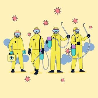 Jednostka medyczna, ubrana w odzież odporną na zarazki, spryskała środek dezynfekujący dla koronawirusa w obliczu dużej epidemii. płaska ilustracja