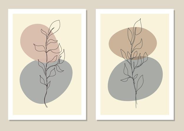 Jednowierszowa abstrakcyjna grafika ścienna z elementami botanicznymi