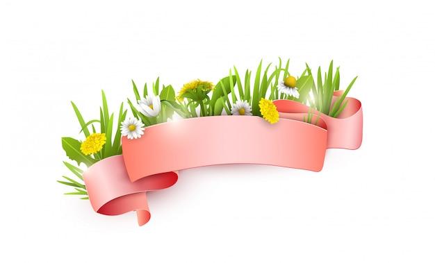Jedwabna różowa wstążka z polnymi kwiatami.