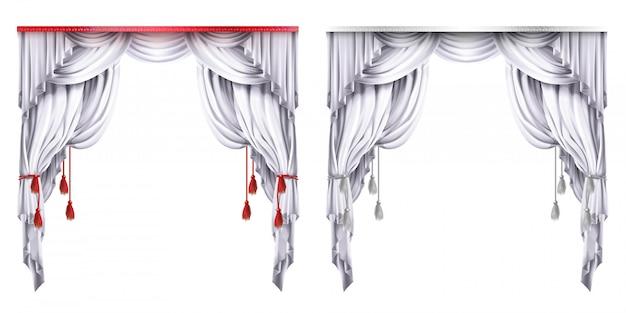 Jedwabne, aksamitne zasłony z czerwonymi lub białymi frędzlami. teatralna kurtyna z zakładkami.