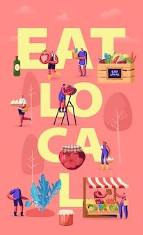 Jedz lokalną koncepcję. małe postacie kupują świeże, zdrowe, smaczne i organiczne sezonowe jedzenie bez eksportu. płaskie ilustracja kreskówka