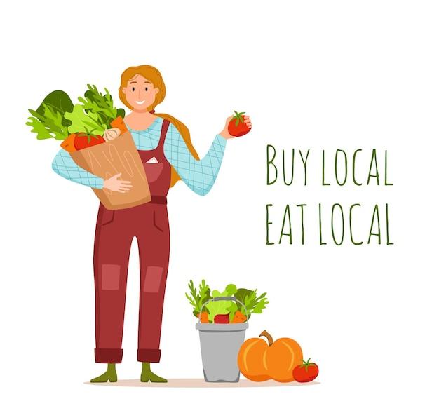 Jedz lokalne produkty ekologiczne kreskówka wektor koncepcja. kolorowa ilustracja szczęśliwy rolnik charakter dziewczyna trzyma pudełko z uprawianymi warzywami. ekologiczne projektowanie rynku sprzedaży produktów rolnych