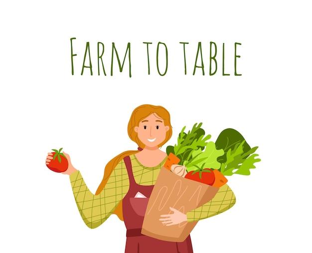 Jedz lokalne produkty ekologiczne kreskówka wektor koncepcja. kolorowa ilustracja szczęśliwy rolnik charakter dziewczyna trzyma pudełko z uprawianymi warzywami.