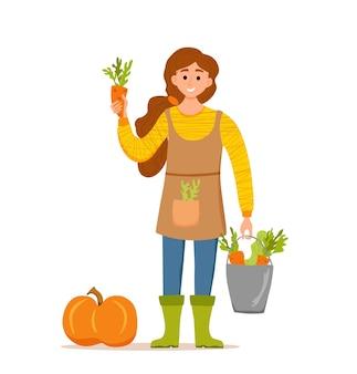 Jedz lokalne produkty ekologiczne kreskówka wektor koncepcja. kolorowa ilustracja szczęśliwy rolnik charakter dziewczyna trzyma wiadro z uprawianymi warzywami. ekologiczne projektowanie rynku sprzedaży produktów rolnych