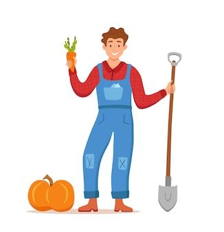 Jedz lokalne produkty ekologiczne kreskówka wektor koncepcja. kolorowa ilustracja szczęśliwych rolników postaci mężczyzn posiadających łopatę z uprawianymi warzywami.