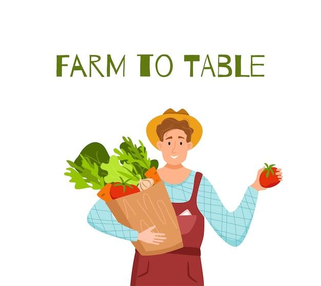 Jedz lokalne produkty ekologiczne kreskówka wektor koncepcja. kolorowa ilustracja szczęśliwych rolników postaci mężczyzn posiadających pakiet z uprawianymi warzywami. ekologiczne projektowanie rynku sprzedaży produktów rolnych