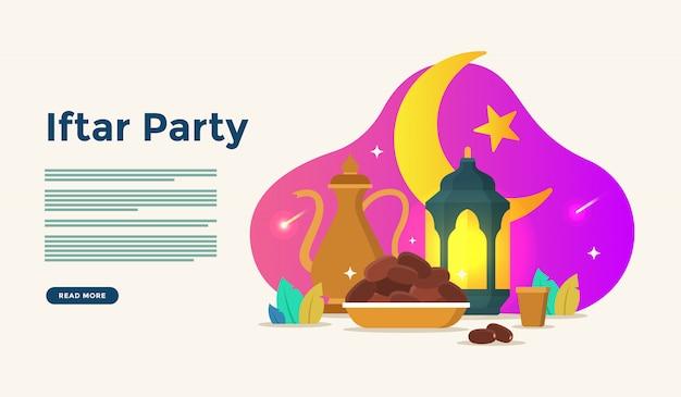 Jedząc razem po czczo uczta iftar party. muzułmański rodzinny obiad na ramadan kareem lub eid świętuje z koncepcją postaci ludzi do szablonu strony docelowej
