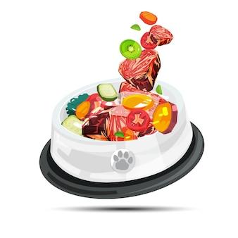 Jedzenie barf. surowe mięso dla zwierzaka -