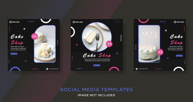 Jedzenie ciasto kulinarne historie banerów post szablon dla wektora premium mody